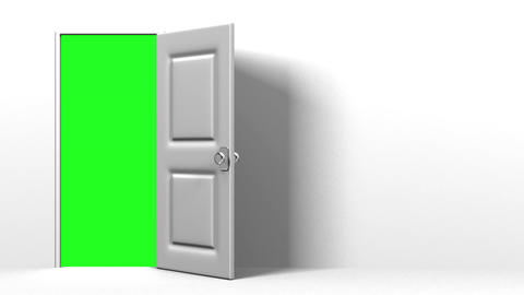 White Door With Text Space And Green Chroma Key Animation