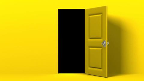 Yellow Door And Dark Room Animation