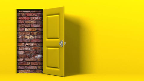Yellow Door With Text Space And Wall Animation