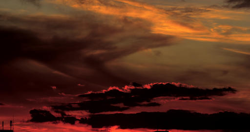 Sunset with Dramatic Clouds in Time Lapse Footage