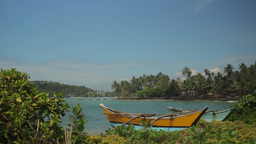 Fishing boat on the beach Sunny tropical island . Sri Lanka Footage
