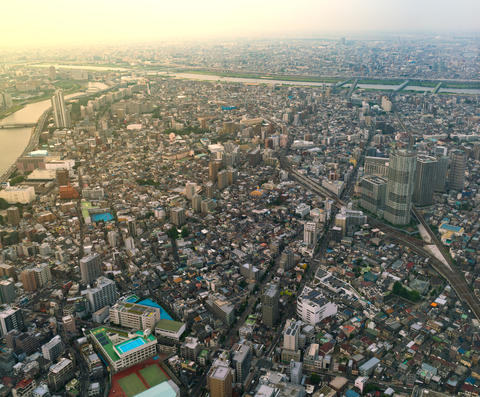The view of Tokyo city from the top level of Tokyo Sky Tree フォト