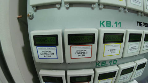 Block of Water Gas Electricity Meters for Apartments Footage