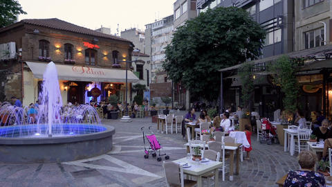 Crowd of Greeks and tourists at restaurants in Ladadika area with live music at  Image