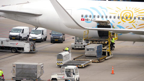 Unloading luggage containers from the aircraft Footage