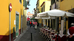 Portugal Madeira gastronomy in cozy alley of Funchal old town Footage