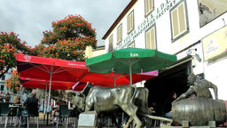 Portugal Madeira street café with red sunshades in Funchal old town Archivo