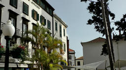 Portugal Madeira public square with marble stones in Funchal Footage