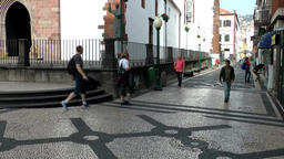 Portugal Madeira marble walkway at Funchal Cathedral of Our Lady Footage