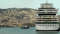 Portugal Madeira German AIDA cruise ship berthed in Funchal port Footage