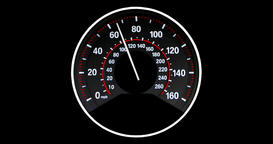 Vehicle speedometer going to max speed through the gears and limiting at 160mph, Animation