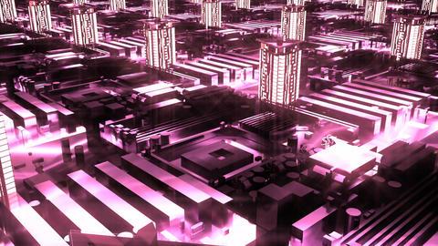 Cybernetic futuristic neon City Animation