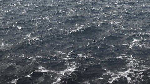 Flight Over The Stormy Ocean / Stormy North Sea Animation