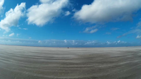 On The North Sea Beach of St. Peter-Ording Filmmaterial