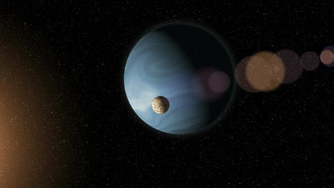 Large blue gas giant planet and a moon orbiting close to a red star. Outer Space Image