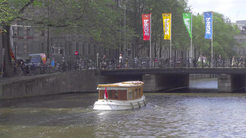 Canal cruise boat in Amsterdam Footage