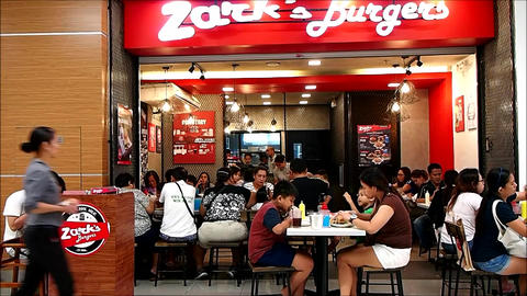A restaurant named Zark's Burgers with its patrons Footage