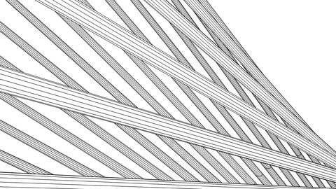 Loopable Black Wire Frame Poles Abstract On White Background Animation