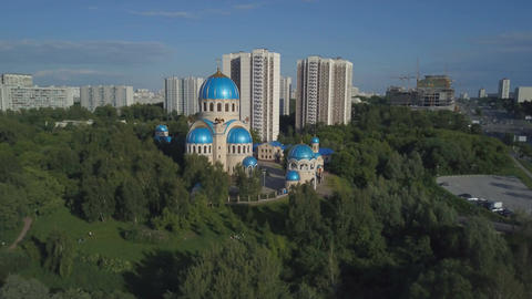 Aerial view of Church of the Holy Trinity at the Borisov Ponds Footage