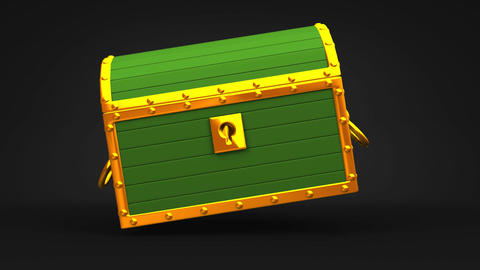 Green Treasure Chest On Black Background Animation