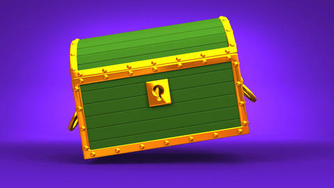 Green Treasure Chest On Purple Background Animation
