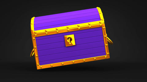 Purple Treasure Chest On Black Background CG動画
