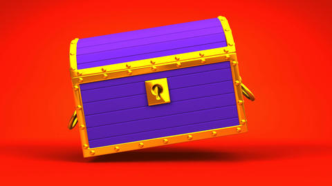 Purple Treasure Chest On Red Background CG動画