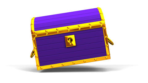 Purple Treasure Chest On White Background CG動画