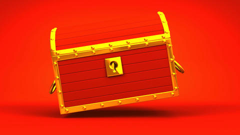 Red Treasure Chest On Red Background Animation