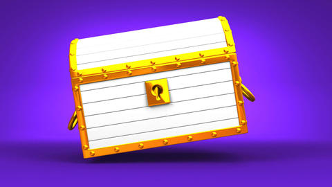 White Treasure Chest On Purple Background Animation