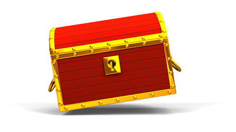 Red Treasure Chest On White Background Animation