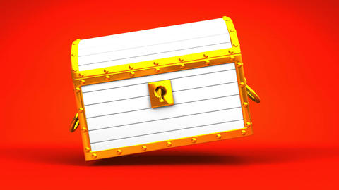 White Treasure Chest On Red Background CG動画