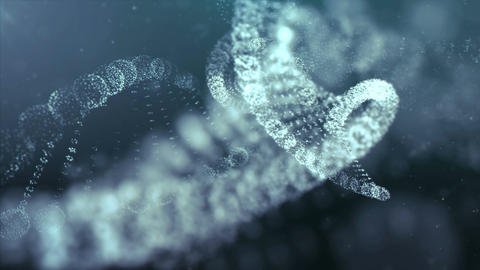 Digitally Generated DNA in Abstract Particles Cyber Space Animation