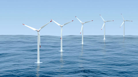 Wind turbines in the sea Animation