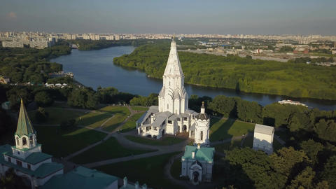 Fly over the Church of the Ascension, Kolomenskoye park and Moscow river Footage