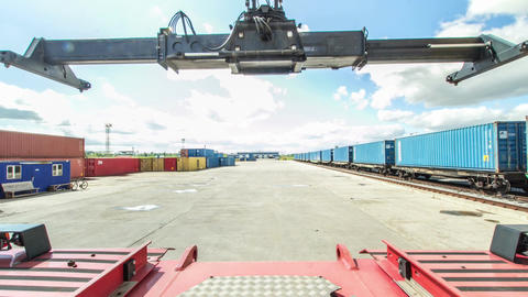 Timelapse Camera Shows Reachstacker Unloading Containers Footage
