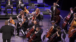 The conductor conducts musicians of the orchestra who play music Footage