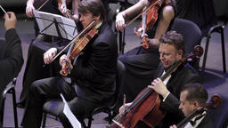Orchestra musicians play music Footage