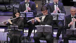 The musician plays the flute in the orchestra Footage