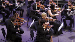 The conductor conducts musicians who play music in the orchestra Footage