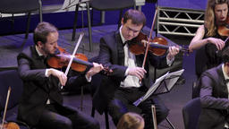 Musicians of the orchestra are playing music on violins on stage Footage