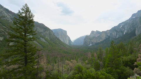 View of Yosemite valley in Yosemite National Park Footage