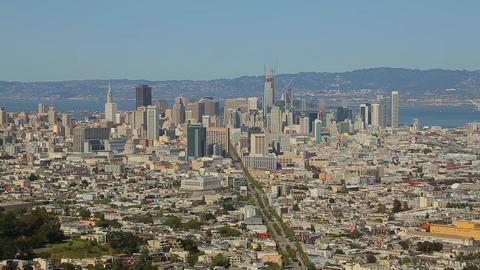 High angle panorama over San Francisco downtown Footage