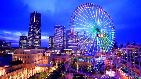 Time-lapse shot of MM21N Yokohama Minato Mirai at dusk Footage