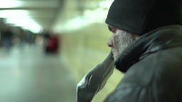 Close-up of a homeless man Footage