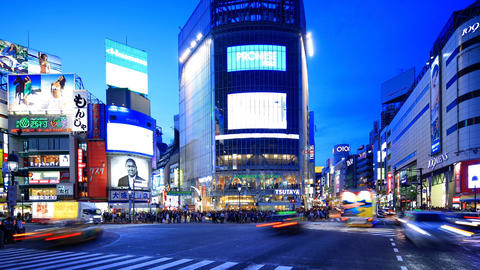 time-lapse shot of Shibuya Crossing in Tokyo Footage