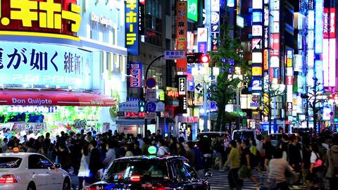 fast forward effect of Kabukicho and Yasukuni-street in Tokyo Footage