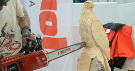 wood sculptor chainsaw 01 Footage