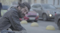 Crisis and poverty. Beggar homeless Footage