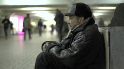 Beggar in the Underpass Footage